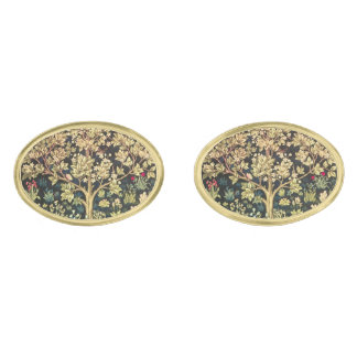 William Morris Tree Of Life Floral Vintage Art Gold Finish Cuff Links