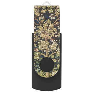William Morris Tree Of Life Floral Vintage Art Swivel USB 2.0 Flash Drive