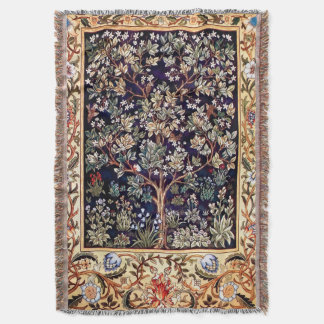 William Morris Tree Of Life Floral Vintage Art Throw Blanket