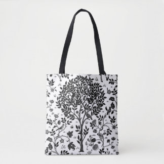 William Morris Tree of Life Pattern, Black & White Tote Bag