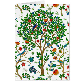 William Morris Tree of Life Pattern, Green & Multi Card