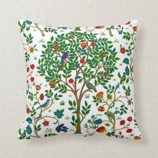 William Morris Tree of Life Pattern, Green & Multi Cushion