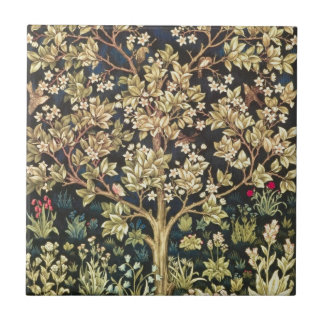William Morris Tree Of Life Vintage Pre-Raphaelite Small Square Tile