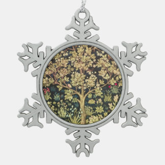 William Morris Tree Of Life Vintage Pre-Raphaelite Snowflake Pewter Christmas Ornament