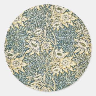 William Morris Tulip and Willow Round Sticker