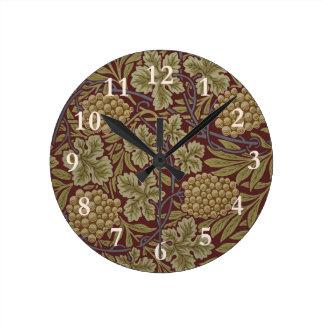 William Morris Vine Wallpaper Pattern Vintage Round Clock
