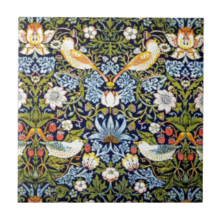 William Morris vintage design - Strawberry Thief Small Square Tile