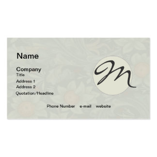William Morris Vintage Orchard Floral Monogram Double-Sided Standard Business Cards (Pack Of 100)