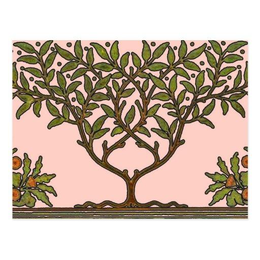 William Morris Vintage Tree Floral Design Postcards