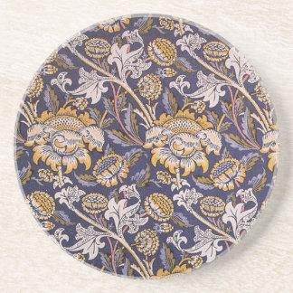 William Morris Wey Floral Wallpaper Design Drink Coaster