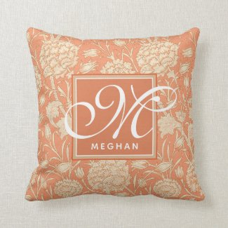 William Morris - Wild Tulips - Peach Monogrammed Cushion