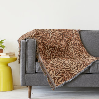 William Morris Willow Bough, Taupe and Brown Throw Blanket