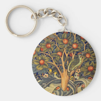 William Morris Woodpecker Pre-Raphaelite Basic Round Button Key Ring