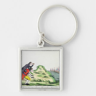 William Pitt Observing the French Squadron Silver-Colored Square Key Ring
