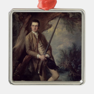 William Poyntz of Midgham and his Dog Amber Silver-Colored Square Decoration