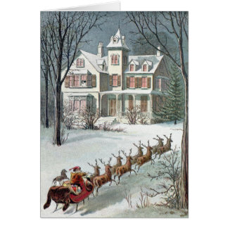 William Roger Snow  -  Vintage Santa and Sleigh Greeting Card