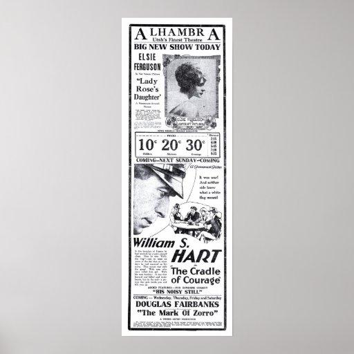William S. Hart 1920 vintage movie ad poster
