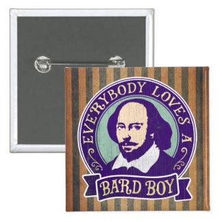 William Shakespeare Bard Boy Portrait 15 Cm Square Badge