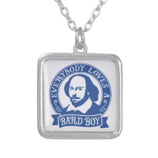 William Shakespeare Bard Boy Portrait Square Pendant Necklace