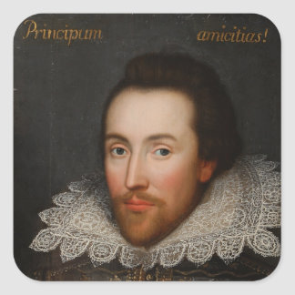 William Shakespeare Cobbe Portrait  circa 1610 Square Sticker