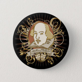 William Shakespeare Crest (Gold) 6 Cm Round Badge