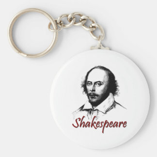 William Shakespeare Etching Basic Round Button Key Ring