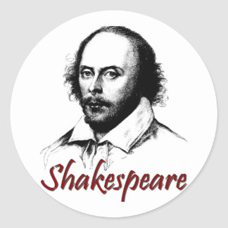 William Shakespeare Etching Round Sticker