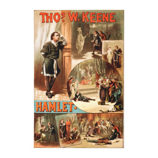 "William Shakespeare ""Hamlet"" Theatre Poster Canvas Print"