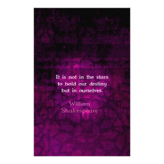 William Shakespeare Inspirational Destiny Quote Stationery