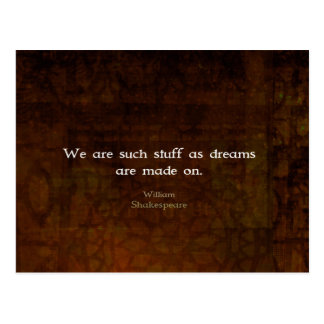William Shakespeare Inspirational Dream Quote Postcard