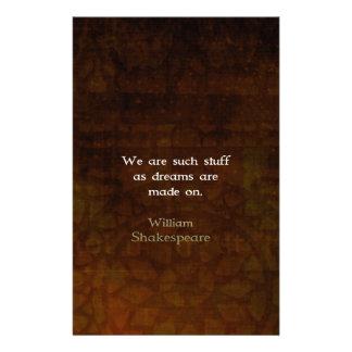 William Shakespeare Inspirational Dream Quote Stationery Design