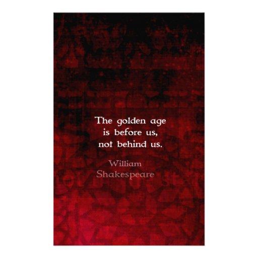 William Shakespeare Inspirational Future Quote Custom Stationery