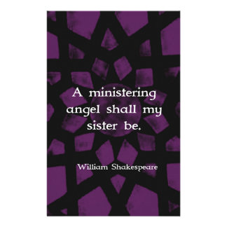 William Shakespeare Inspirational Sister Quote Stationery Design