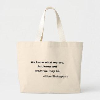 William Shakespeare Inspiring Quote Large Tote Bag