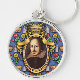 William Shakespeare Silver-Colored Round Key Ring