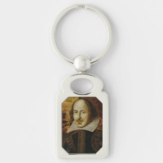William Shakespeare Keychain Silver-Colored Rectangle Key Ring