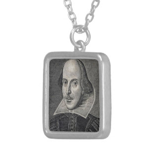 William Shakespeare Portrait Silver Plated Necklace