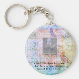 William Shakespeare quote about wisdom and fools Basic Round Button Key Ring