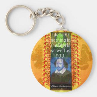 William Shakespeare Romantic LOVE Quote Key Chain