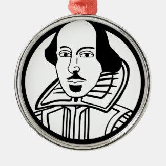 William Shakespeare Silver-Colored Round Decoration