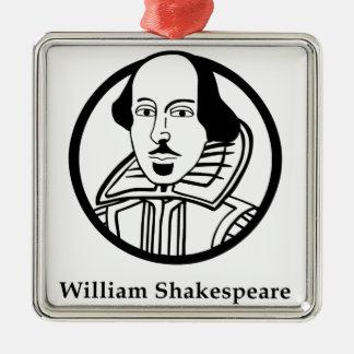 William Shakespeare Silver-Colored Square Decoration