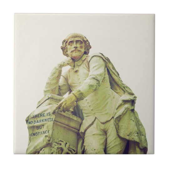 William Shakespeare statue monument Small Square Tile