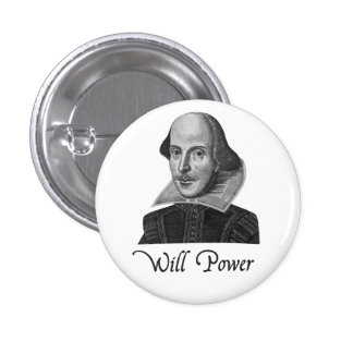 William Shakespeare Will Power 3 Cm Round Badge