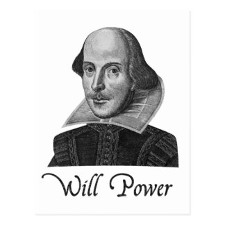 William Shakespeare Will Power Postcard