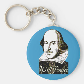 William Shakespeare Will Power T shirt Basic Round Button Key Ring