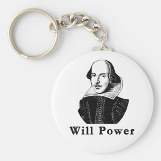William Shakespeare WILL POWER Tshirts Basic Round Button Key Ring