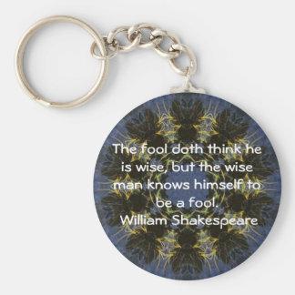 William Shakespeare Wisdom Quotation Saying Basic Round Button Key Ring
