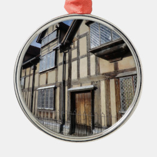 William Shakespeare's House, Stratford Upon Avon Silver-Colored Round Decoration