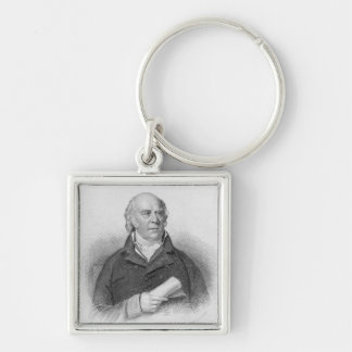 William Sharp, engraved by J. Thomson Silver-Colored Square Key Ring