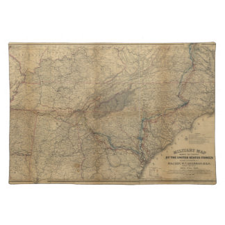 William T. Sherman Marches Military Map 1863 64 65 Placemat